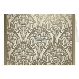 Guld art nouveau, deco, vit, chic, elegant som är OBS kort