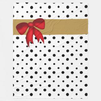 Guld- band för B&W-polka dotsw och röd pilbåge Fleecefilt
