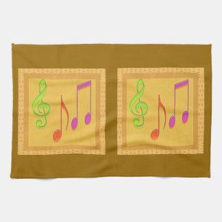 Guld- basera dansmusiksymboler kökshandduk