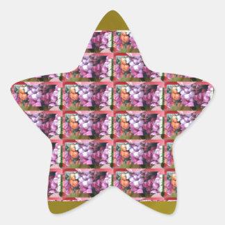 Guld- basera tid för gåvor för blommaremsamönster stjärnformat klistermärke