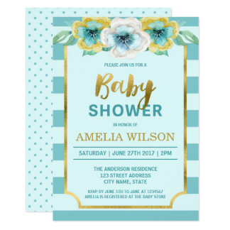 Guld- blom- baby showerinbjudan för Mint och för 12,7 X 17,8 Cm Inbjudningskort