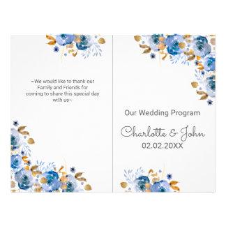 Guld- blom- bröllop för blått reklamblad