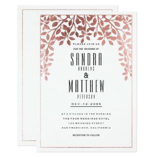 Guld- blom- bröllop för elegant faux för snyggt 12,7 x 17,8 cm inbjudningskort