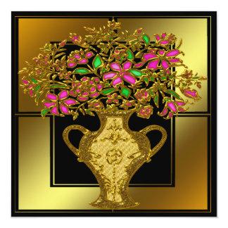 Guld- blom- födelsedagsfest inbjudan
