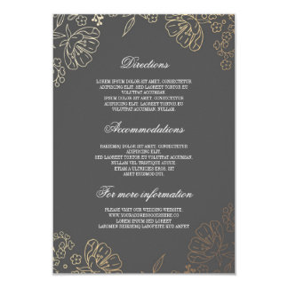 Guld- blom- information om vintage bröllop 8,9 x 12,7 cm inbjudningskort