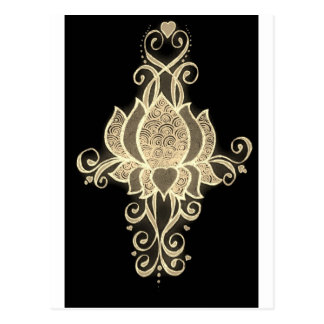 guld- blom- mehndi vykort