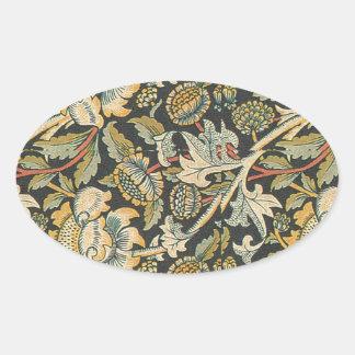 Guld- blom- tyg för blått ovalt klistermärke