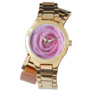 Guld- blommaklocka för romantisk söt mjuk rosa ros armbandsur