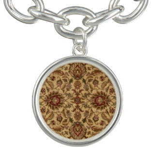 Guld blommar orientalisk tapastery för Arabesque Armband