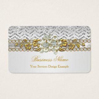 Guld- blommigt för pärla för diamant för visitkort