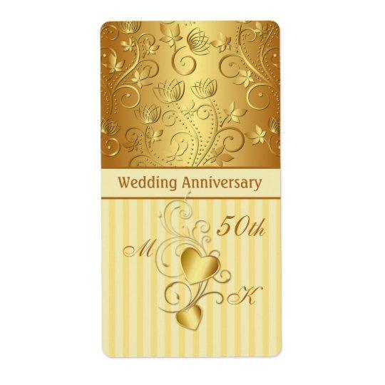 Guld- blommigt, hjärtabröllopsdagvin fraktsedel