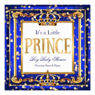 Guld Bokeh för blått för baby shower för Prince Fyrkantigt 13,3 Cm Inbjudningskort
