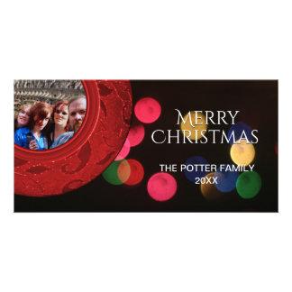 Guld Bokeh för blått för god julfoto rött grönt Fotokort