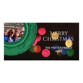 Guld Bokeh för blått för god julfotogrönt rött Fotokort