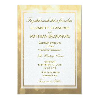 Guld- Bokeh | gifta sig inbjudan