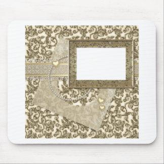 Guld- bröllop eller årsdag med fotoramen mus matta