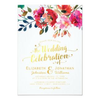 Guld- bröllop för elegant blom- vattenfärgvit 12,7 x 17,8 cm inbjudningskort