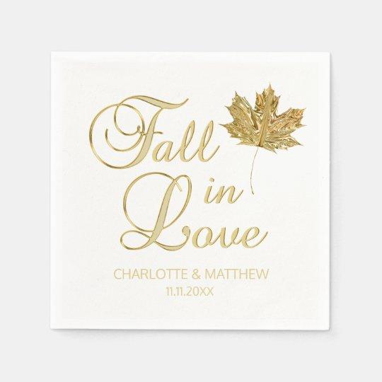 Guld- bröllop för elegant vit för höstnedgång servetter
