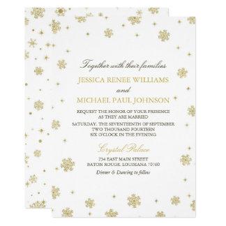 Guld- bröllop för glittervinterunderland 12,7 x 17,8 cm inbjudningskort