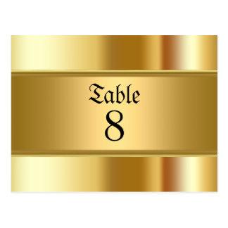 Guld- bröllopbordsnummer vykort