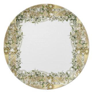 Guld- bröllopelegantdinnerware tallrik