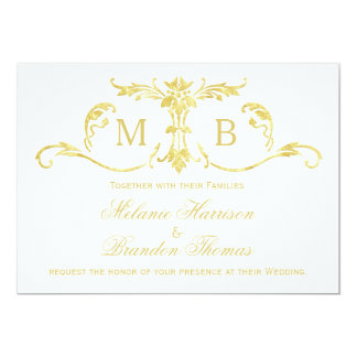 Guld- bröllopinbjudningar med OSAN som gifta sig 12,7 X 17,8 Cm Inbjudningskort