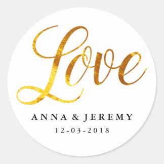 Guld- bröllopklistermärke för kärlek runt klistermärke