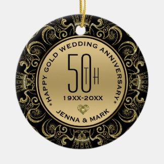 Guld- bröllopsdag för glitterram 50th julgransprydnad keramik