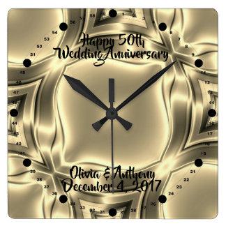 Guld- bröllopsdag för linjer 50th fyrkantig klocka