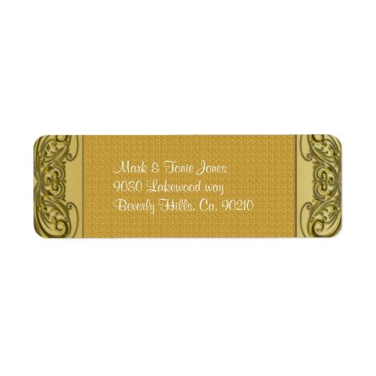 Guld- bröllopsdag för rullor 50th returadress etikett