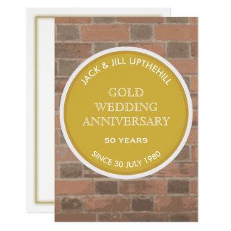 Guld- bröllopsdagpartyinbjudan 8,9 x 12,7 cm inbjudningskort