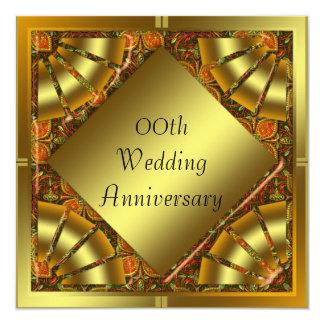 Guld- bröllopsdagpartyinbjudan fyrkantigt 13,3 cm inbjudningskort