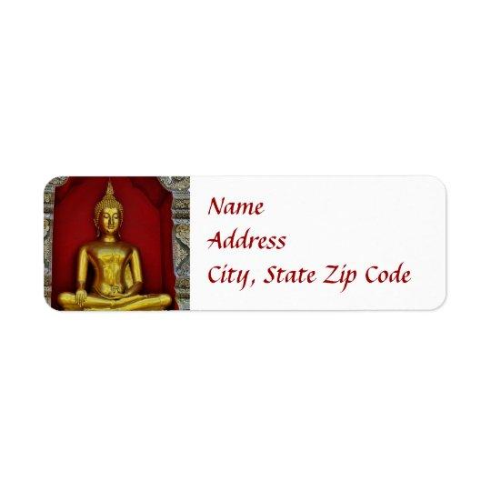 Guld- Buddha etikett Returadress Etikett