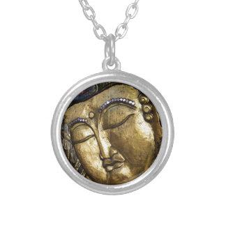 Guld- Buddha som välsignar inspirera kärlek Halsband Med Rund Hängsmycke