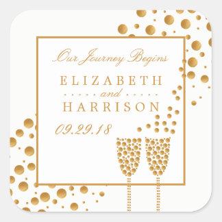Guld- champagne bubblar bröllop fyrkantigt klistermärke