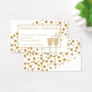 Guld- champagne bubblar bröllopwebsiten visitkort