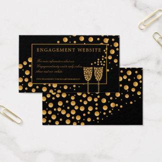 Guld- champagne bubblar förlovningsfestwebsiten visitkort