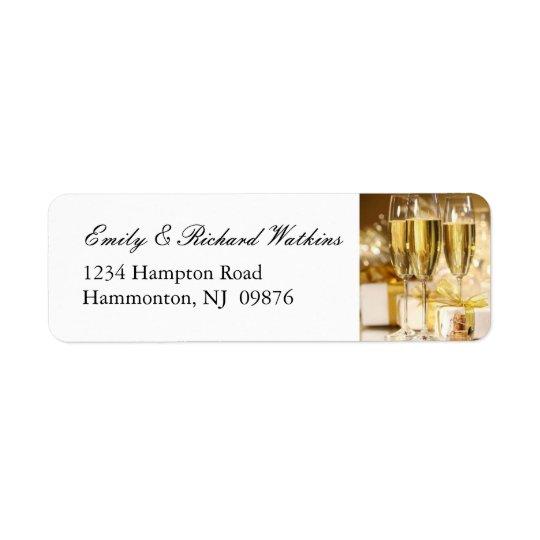 Guld- champagnepartyetiketter returadress etikett