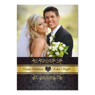 Guld- chic fotohelgdagkort 12,7 x 17,8 cm inbjudningskort