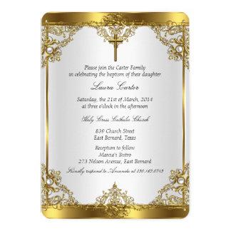 Guld- Christening 2 för dop för vitpärlakor 12,7 X 17,8 Cm Inbjudningskort