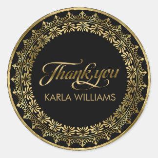 Guld cirklar typografi för snöreramtack runt klistermärke