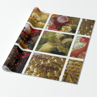 Guld- Collagejul som slår in pappert högvärdigt Presentpapper