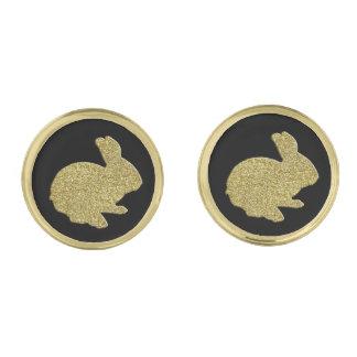 Guld- Cufflinks för glitterSilhouettepåskhare Guldpläterade Manschetterknappar