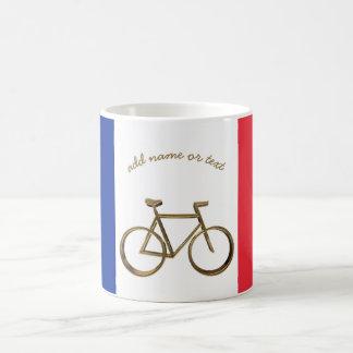 Guld- cykelcykel för fransk flagga som cyklar kaffemugg