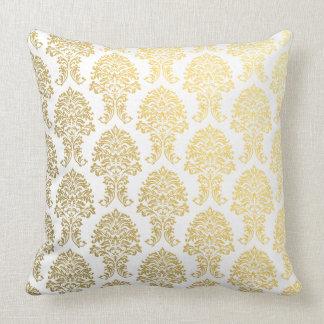 guld- damast utskrivavet mönster kudde