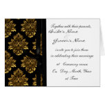 Guld- damastast bröllopinbjudan hälsnings kort
