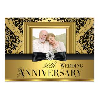 Guld- damastast bröllopsdag 3 för pilbågefoto 50th 12,7 x 17,8 cm inbjudningskort