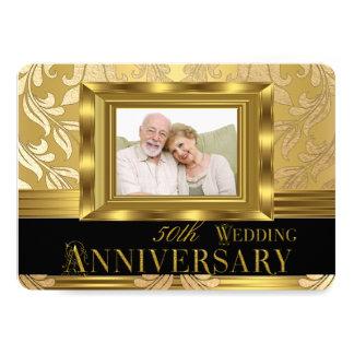 Guld- damastast bröllopsdag för foto 50th 12,7 x 17,8 cm inbjudningskort