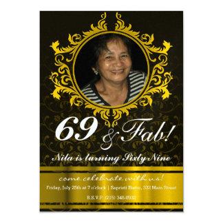 Guld- damastast mönsterinbjudankort 12,7 x 17,8 cm inbjudningskort