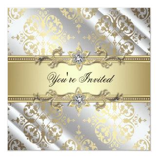 Guld- damastast party för silver fyrkantigt 13,3 cm inbjudningskort